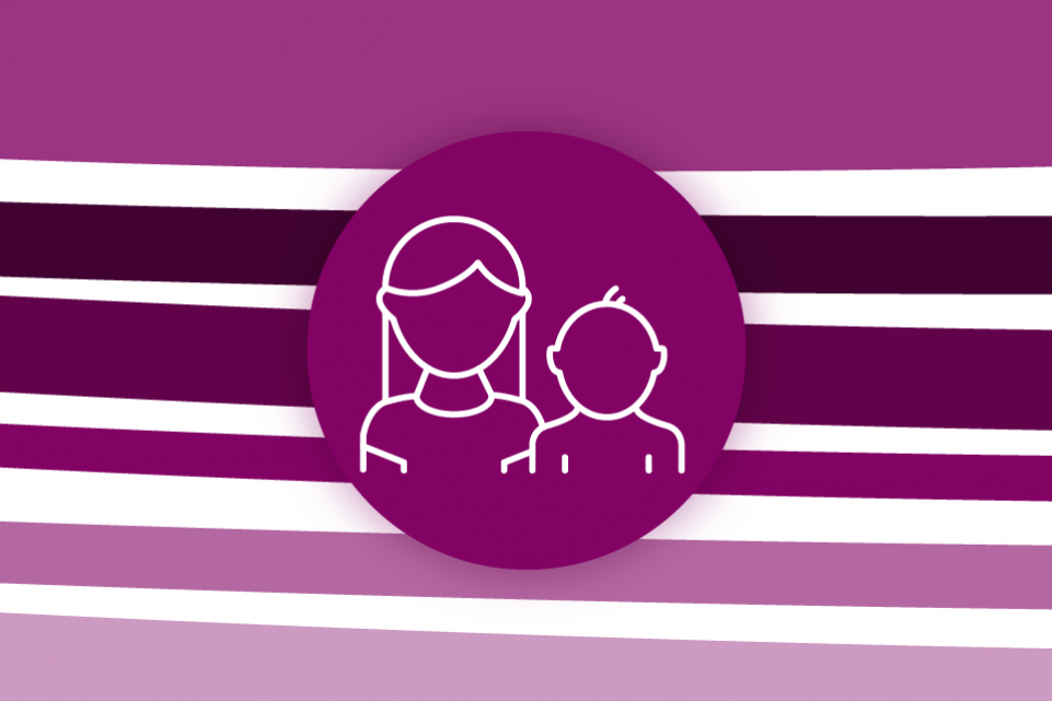 Re-thinking local: children and young people - purple stripes on a white background with a purple icon of two children